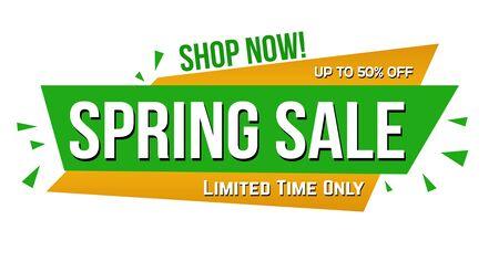 Spring sale banner design on white background, vector illustration Ilustração