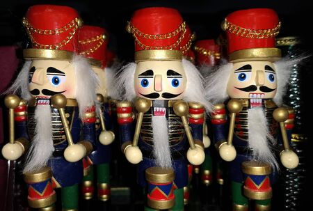 Christmas wooden Nutcrackers with drums Banco de Imagens