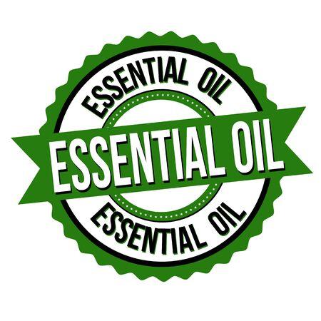 Essential oil label or sticker on white background, vector illustration Ilustração