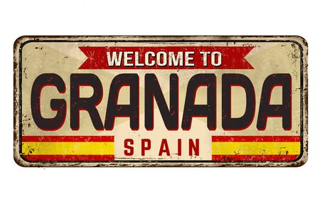 Welcome to Granada vintage rusty metal sign on a white background, vector illustration