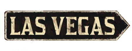 Las Vegas vintage rusty metal sign on a white background, vector illustration
