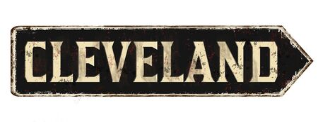 Cleveland vintage rusty metal sign on a white background, vector illustration