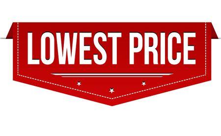 Lowest price banner design on white background, vector illustration
