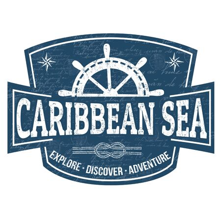 Caribbean sea sign or stamp on white background, vector illustration