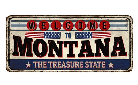 Welcome to Montana vintage rusty metal sign on a white background, vector illustration Illusztráció