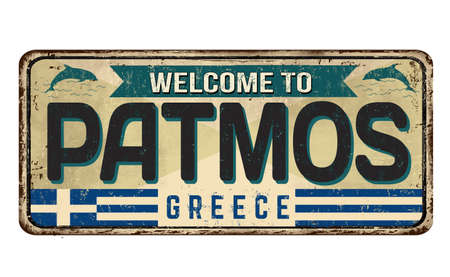 Welcome to Patmos vintage rusty metal sign on a white background, vector illustration Illusztráció