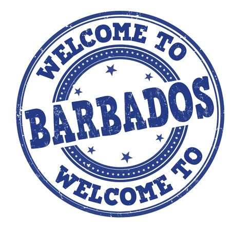 Welcome to Barbados grunge rubber stamp on white, vector illustration
