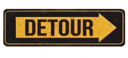 Detour vintage rusty metal sign on a white background, vector illustration