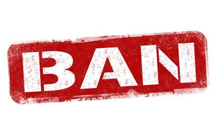 Ban sign or stamp on white background, vector illustration Ilustração