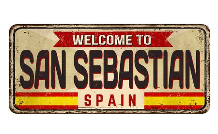 Welcome to San Sebastian vintage rusty metal sign on a white background, vector illustration