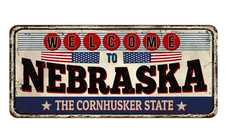 Welcome to Nebraska vintage rusty metal sign on a white background, vector illustration