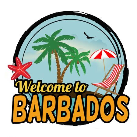 Welcome to Barbados sign or stamp on white background, vector illustration
