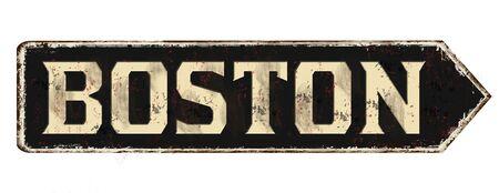 Boston vintage rusty metal sign on a white background, vector illustration Ilustração