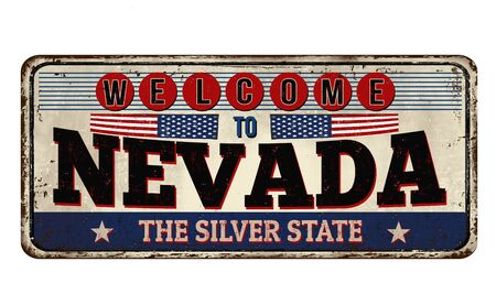Welcome to Nevada vintage rusty metal sign on a white background, vector illustration