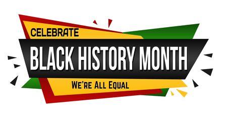 Black history month banner design on white background, vector illustration Ilustração