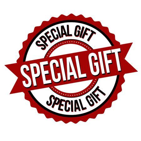 Special gift label or sticker on white background, vector illustration Ilustração