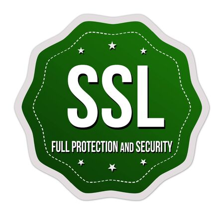 SSL full protection and security label or sticker on white background, vector illustration