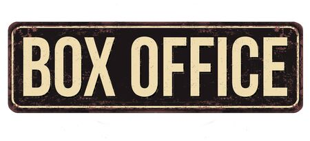 Box office vintage rusty metal sign on a white background, vector illustration
