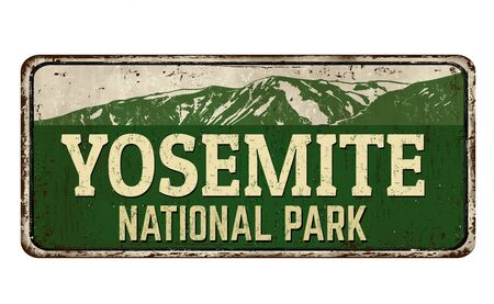 Yosemite national park vintage rusty metal sign on a white background, vector illustration Ilustrace
