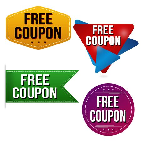 Free coupon sticker or label set on white background, vector illustration