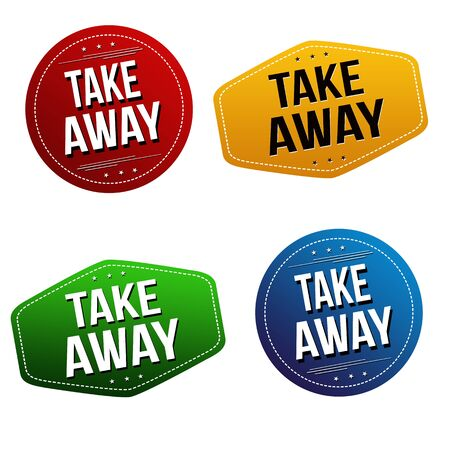 Take away sticker or label set on white background, vector illustration