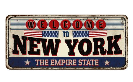 Welcome to New York vintage rusty metal sign on a white background, vector illustration Ilustração