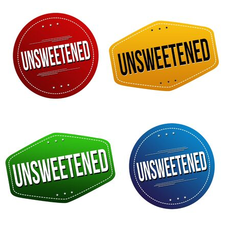 Unsweetened sticker or label set on white background, vector illustration Ilustração