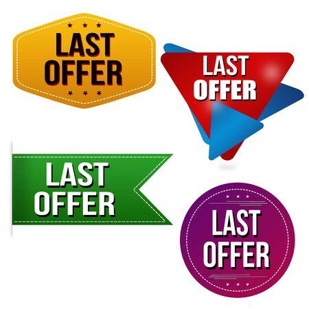Last offer sticker or label set on white background, vector illustration