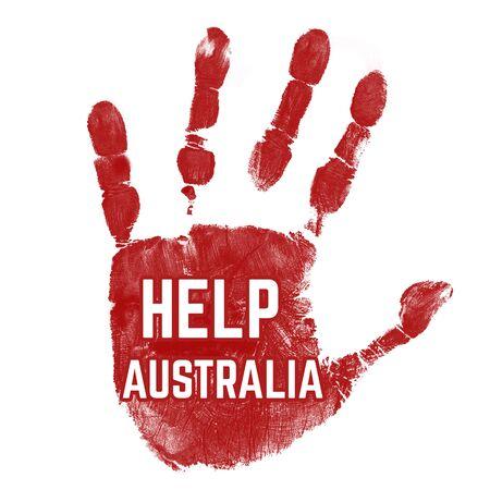 Grunge ink hand with message Help Australia on white background, vector illustration Ilustração
