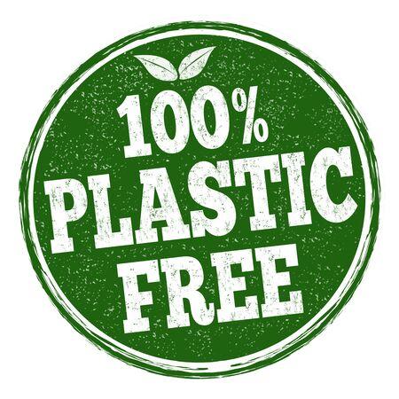 100% plastic free sign or stamp on white background, vector illustration