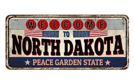 Cartel de metal oxidado vintage de Dakota del Norte sobre un fondo blanco, ilustración vectorial Ilustración de vector