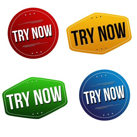 Try now sticker or label set on white background, vector illustration