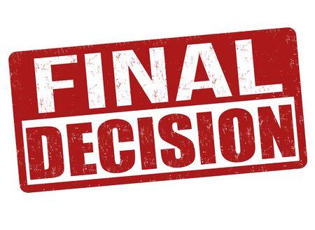 Final decision sign or stamp on white background, vector illustration