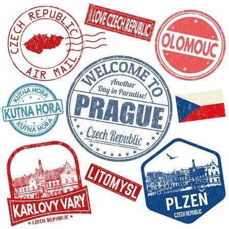 Set di francobolli grunge da viaggio con la Repubblica ceca su sfondo bianco, illustrazione vettoriale