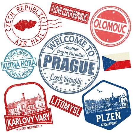 Set of travel grunge stamps with Czech Republic on white background, vector illustration