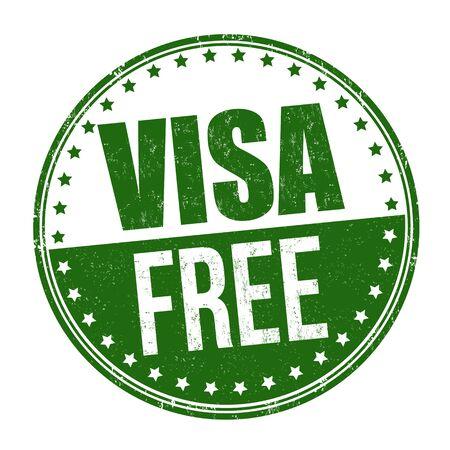 Segno o timbro gratuito di visto su sfondo bianco, illustrazione vettoriale Vettoriali