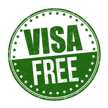 Visa free sign or stamp on white background, vector illustration