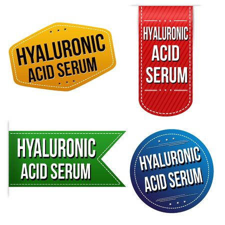 Hyaluronic acid serum sticker or label set on white background, vector illustration Ilustração