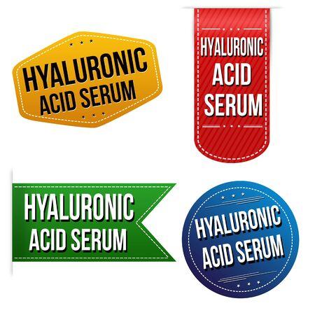 Hyaluronic acid serum sticker or label set on white background, vector illustration Illustration