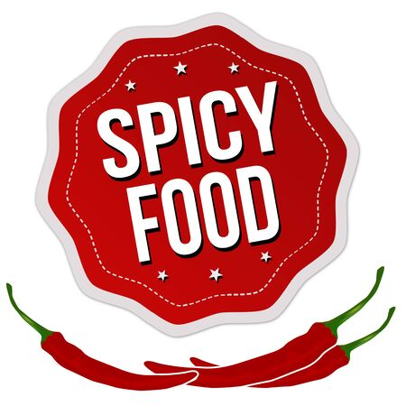 Spicy food label or sticker on white background, vector illustration Illustration