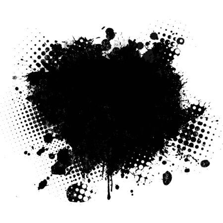 Black spot of paint on a white background. Grunge urban background, vector illustration