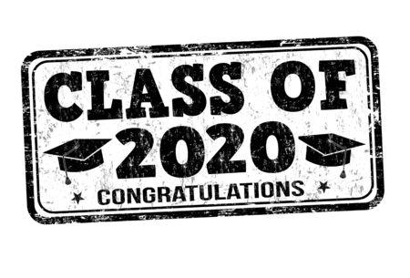 Clase de 2020 sello de goma del grunge en blanco, ilustración vectorial Ilustración de vector