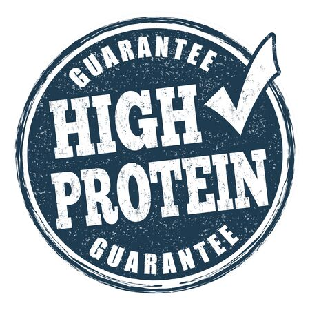 High protein sign or stamp on white background, vector illustration