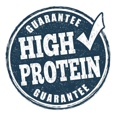 Signo de alto contenido de proteínas o sello sobre fondo blanco, ilustración vectorial