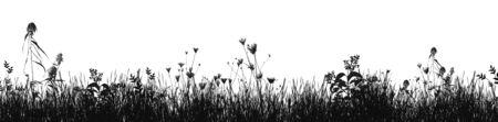 Hierba silueta natural como fondo en blanco, ilustración vectorial