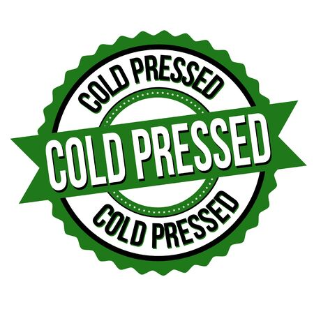 Cold pressed label or sticker on white background, vector illustration