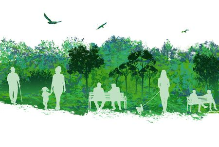 Vector illustration of beautiful landscape scene with people on park over white background