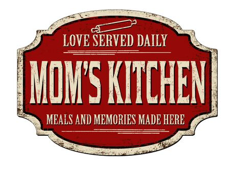 Moms kitchen vintage rusty metal sign on a white background, vector illustration
