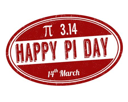 Happy Pi day sign or stamp on white background, vector illustration
