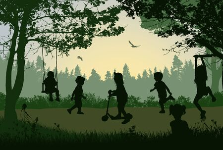 Happy children silhouette playing in a park on beautiful place, vector illustration